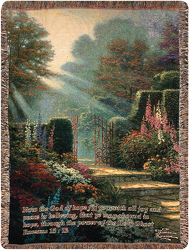 Thomas Kinkade Garden of Grace Afghan from Victor Mathis Florist in Louisville, KY