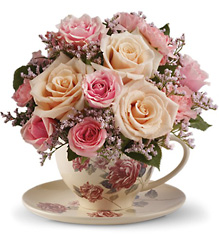 Teleflora's Victorian Teacup Bouquet from Victor Mathis Florist in Louisville, KY