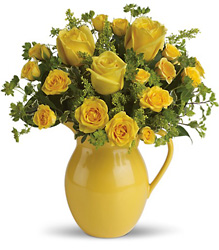 Teleflora's Sunny Day Pitcher of Roses from Victor Mathis Florist in Louisville, KY